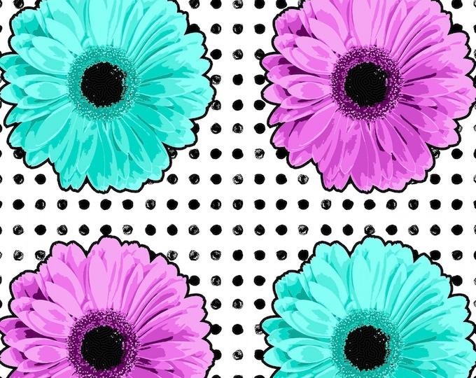 Flower Power by Patrick Lose - Daisies Aqua & Lavender - Cotton Woven Fabric