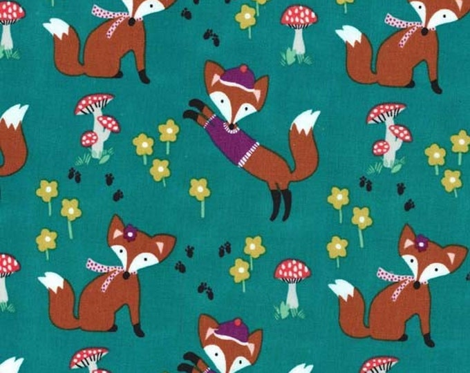 Fox Woods by Michael Miller - Lil' Foxy Teal - Cotton Woven Fabric