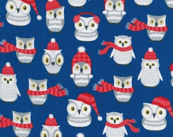 Polar Pals by Robert Kaufman - Royal Owls - Cotton Woven Fabric