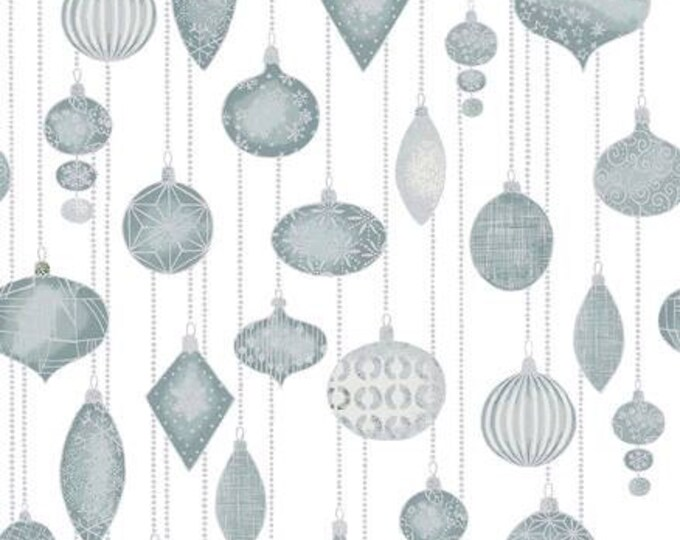 Glimmering by Stof Fabrics of Denmark - Hanging Ornaments on White - Silver Metallic Cotton Woven Fabric