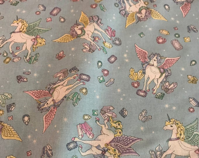 Cosmo Japanese Fabric - Unicorns with Glitter Blue - Cotton Shirting