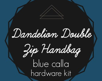 Dandelion Double Zip Handbag - Blue Calla Hardware Kit - Swivel Clips, D-Rings