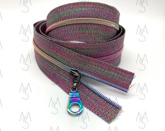 Rainbow Nylon Coil Zipper (#3 Size) with Metallic Rainbow Tape & Rainbow Pulls - Zipper by the Yard - Nylon Coil Zipper - Metallic Zipper