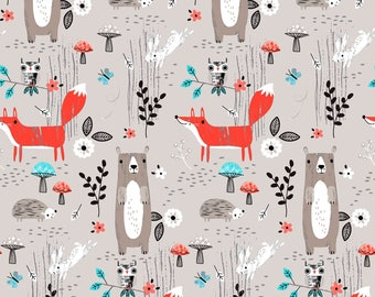 Forest Buddies by Fabric Editions - Forest Animals Light Grey - Cotton Woven Fabric - FAT QUARTER