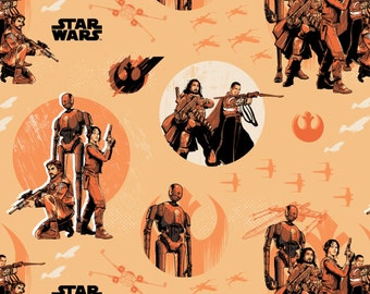 Star Wars Rogue One Collection by Camelot - Light Orange Star Wars Rebels - Cotton Woven Fabric