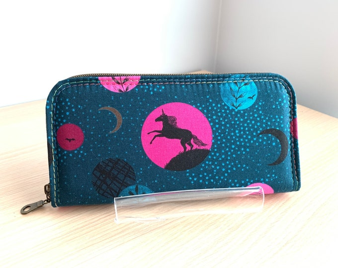 Classic Zip Around Wallet - Full Size Ladies Wallet - Fashion Wallet - Handbag Accessory - Coin Purse - Card Holder - Wallet - Unicorn