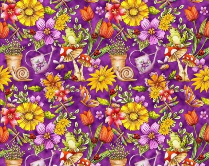Garden Glory by Blank Quilting - Garden Allover Purple  - Cotton Woven Fabric