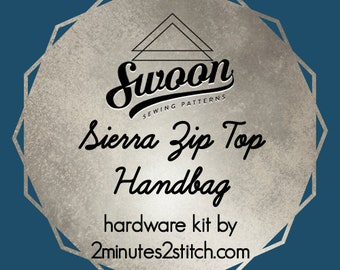 Sierra Zip Top Handbag - Swoon Patterns - Hardware Kit by 2 Minutes 2 Stitch