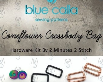 Coneflower Crossbody Bag - Blue Calla Patterns - Hardware Kit by 2 Minutes 2 Stitch
