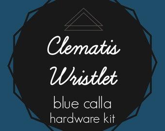Clematis Wristlet - Blue Calla Hardware Kit - Swivel Clips, D-Rings