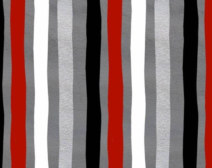 Around Town Christmas by Studio E - Around Town Stripe - Cotton Woven Fabric - FAT QUARTER