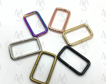 10 Rectangle Rings - 1-1/2 Inches Wide - 38mm - Square Bag Rings - Bag Hardware - 2 Minutes 2 Stitch - Rainbow Hardware - Rose Gold Hardware