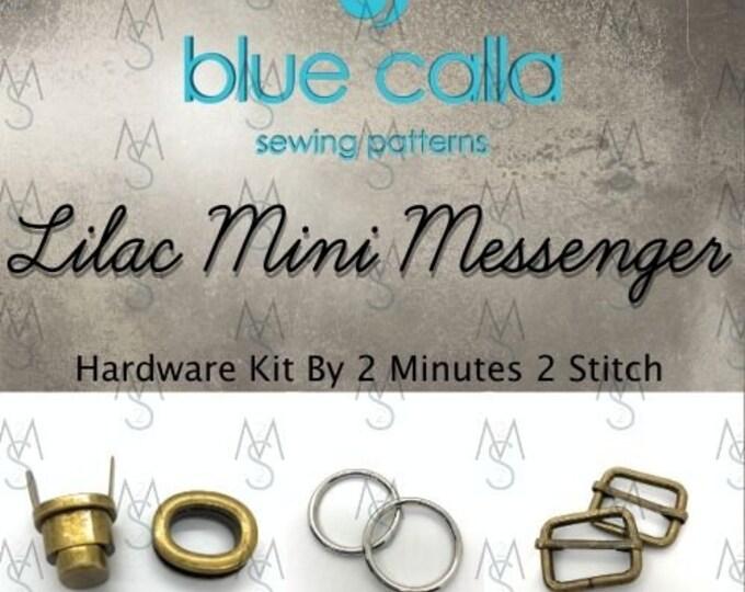 Lilac Mini Messenger Bag - Blue Calla Hardware Kit - Swivel Clips, D-Rings