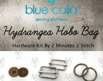 Hydrangea Hobo Bag - Blue Calla Hardware Kit - Swivel Clips, D-Rings