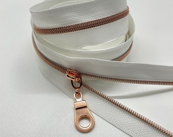 Rose Gold Nylon Coil Zipper (#3 Size) with White Tape & Rose Gold Pulls - Zipper by the Yard - Nylon Coil Zipper - Metallic Zipper