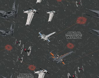 Star Wars The Last Jedi by Camelot - Space Ship Battle Carbon - Cotton Woven Fabric - FAT QUARTER