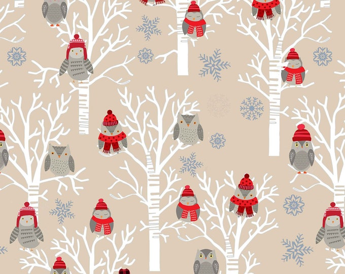 Snow Delightful by Studio E - Winter Owls in Tress Ecru - Cotton Woven Fabric