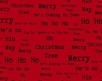 Around Town Christmas by Studio E - Christmas Words Red - Cotton Woven Fabric - FAT QUARTER
