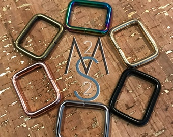 10 Rectangle Rings - 1-Inch Wide - 25mm - Square Bag Rings - Bag Hardware - 2 Minutes 2 Stitch - Rainbow Hardware - Rose Gold Hardware