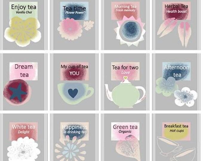 Five O'Clock Tea by Stof Fabrics of Denmark - Tea Types Gray - Cotton Woven Fabric