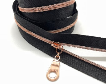 Rose Gold Nylon Coil Zipper (#3 Size) with Black Tape & Rose Gold Pulls - Zipper by the Yard - Nylon Coil Zipper - Metallic Zipper