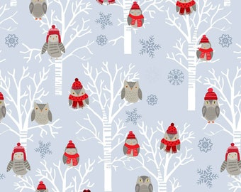Snow Delightful by Studio E - Winter Owls in Tress Grey - Cotton Woven Fabric