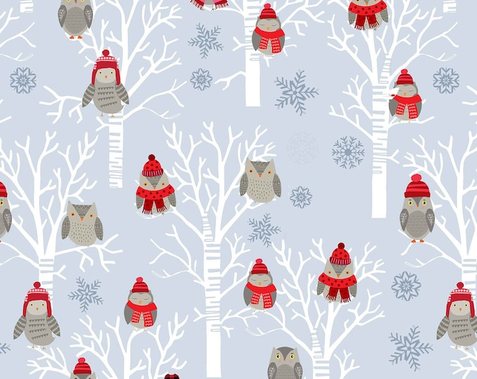 Snow Delightful by Studio E - Winter Owls in Tress Grey - Cotton Woven Fabric