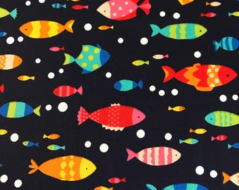 Westex Japanese Fabric - Tropical Fish Multi on Navy - Cotton Woven