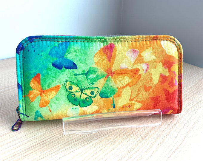 Classic Zip Around Wallet - Full Size Ladies Wallet - Fashion Wallet - Handbag Accessory - Coin Purse - Card Holder - Butterfly Wallet