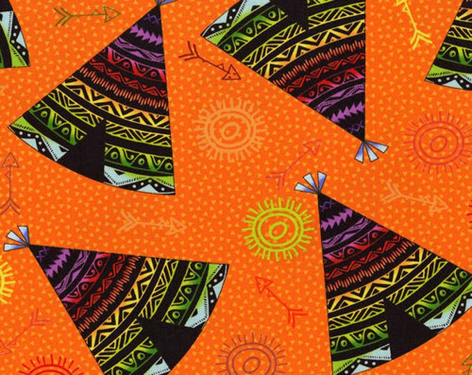Pow Wow Wow by RJR - Teepee Toss Orange - Cotton Woven Fabric