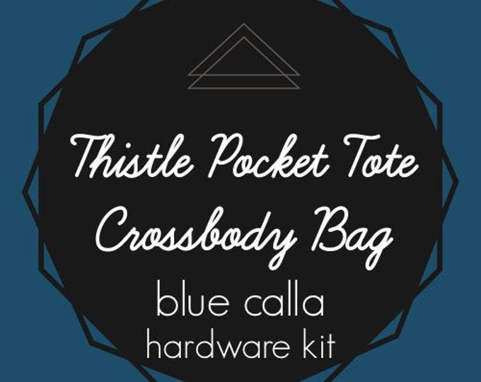 Thistle Pocket Tote Crossbody Bag - Blue Calla Hardware Kit - Swivel Clips, D-Rings