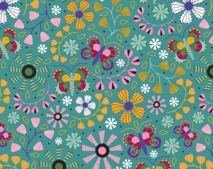 Daydream by Blank Quilting - Floral Allover Teal - Cotton Woven Fabric