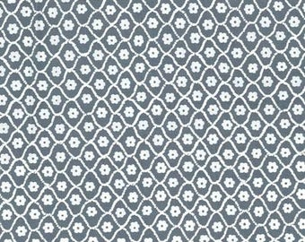 Butterfly Row by Michael Miller - Flower Net Gray - Cotton Woven Fabric