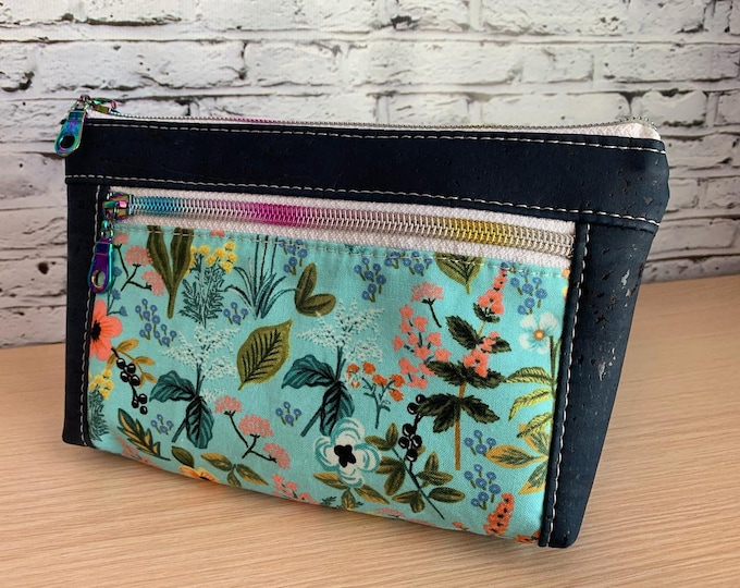 Devon Zipper Pouch - Aqua & Navy Floral Cork Vegan Leather