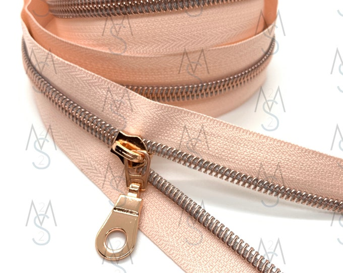 Rose Gold Nylon Coil Zipper (#5 Size) with Peachy Rose Tape & Rose Gold Pulls - Zipper by the Yard - Nylon Coil Zipper - Metallic Zipper