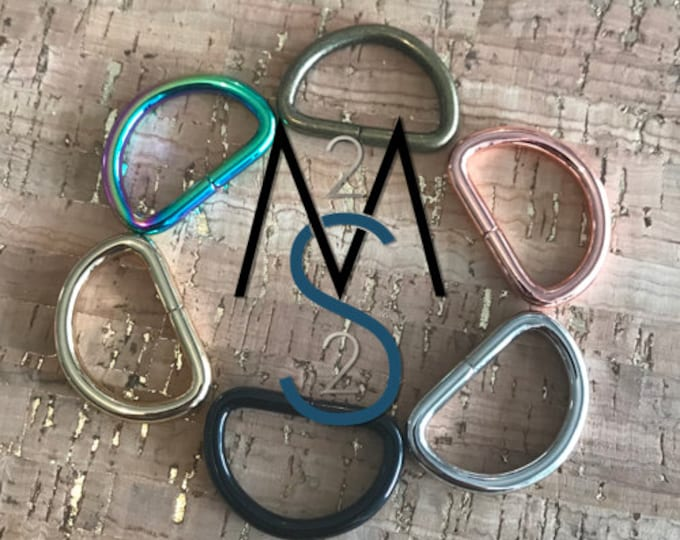 D-Rings - 1-Inch Wide - 10 Pieces - Dee Rings - Bag Hardware - 2 Minutes 2 Stitch - Rainbow D Rings - Rose Gold Hardware