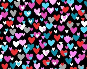 Big Love by Studio E - Small Hearts on Black - Cotton Woven Fabric