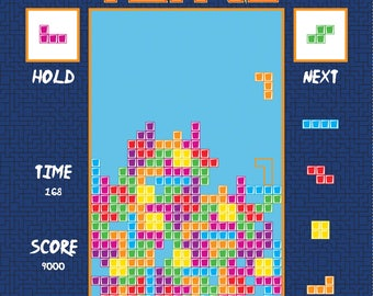 Tetris Licensed by Riley Blake - Navy Tetris Panel - Cotton Woven Fabric
