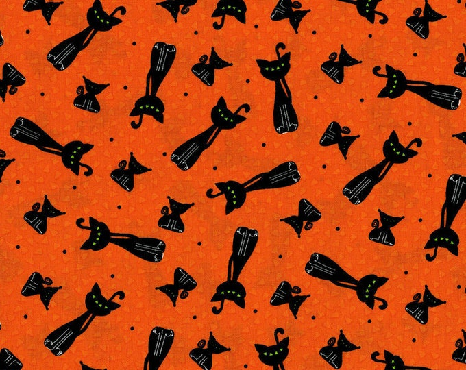 Happy Owl-O-Ween by RJR - Scary Kitty Toss Pumpkin Orange - Cotton Woven Fabric