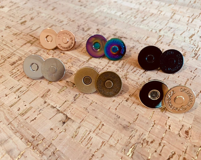 18mm Magnetic Snaps/Closures for Handbags & Wallets - Set of 2! - Bag Hardware - Rainbow Magnetic Snaps - Rose Gold Magnetic Snaps