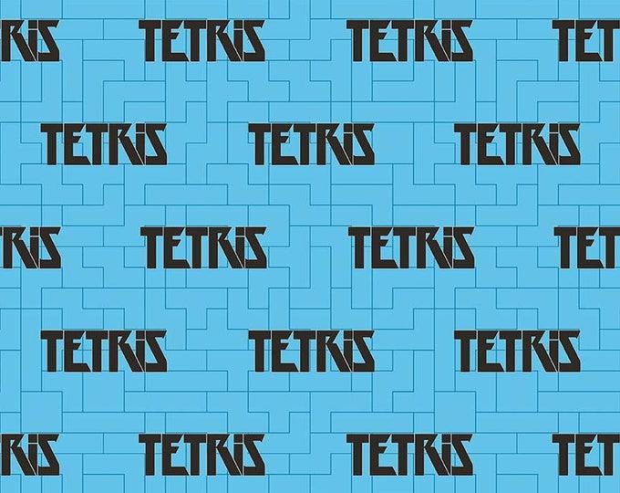 Tetris Licensed by Riley Blake - Blue Tetris Logo - Cotton Woven Fabric