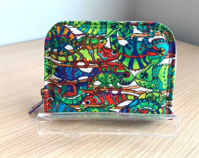 Mini Zip Around Wallet - Full Size Ladies Wallet - Fashion Wallet - Handbag Accessory - Coin Purse - Card Holder - Chameleon Wallet