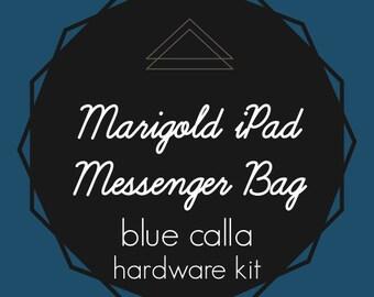 Marigold iPad Messenger Bag - Blue Calla Hardware Kit - Swivel Clips, D-Rings