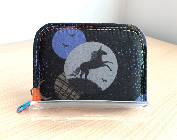Mini Zip Around Wallet - Full Size Ladies Wallet - Fashion Wallet - Handbag Accessory - Coin Purse - Card Holder - Unicorn Wallet