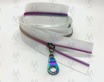 Rainbow Nylon Coil Zipper (#3 Size) with White Tape & Rainbow Pulls - Zipper by the Yard - Nylon Coil Zipper - Metallic Zipper