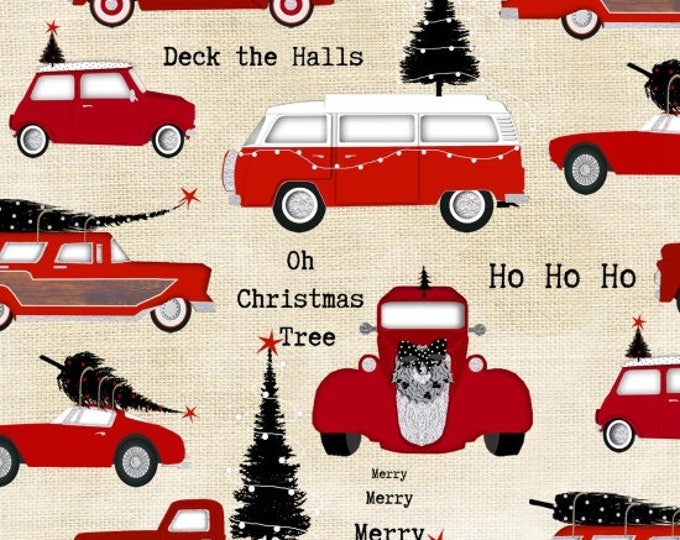 Around Town Christmas by Studio E - Cars on Cream - Cotton Woven Fabric - FAT QUARTER