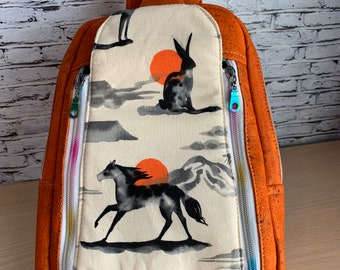 Speedwell Sling Bag - Sling Backpack - Mustang Bag - Vegan Leather Bag - Cork Backpack - Orange Backpack - Turquoise Backpack - Mustang Bag
