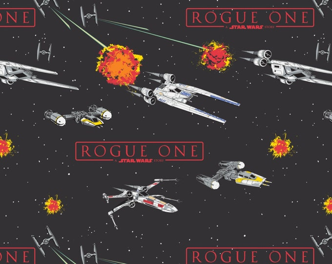 Star Wars Rogue One Collection by Camelot - Carbon Star Wars Ships - Cotton Woven Fabric