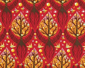 The Birds and The Bees by Tula Pink - Tree of Life Cinnamon PWTP025 - Cotton Woven Fabric