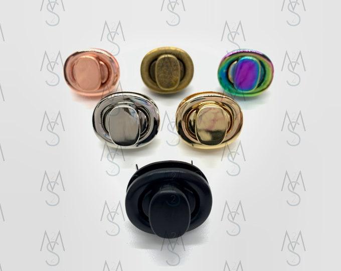 Set of (5) Five Turn Locks - Twist Lock - Bag Lock - Wallet Lock - Bag Clasp - Wallet Clasp - Bag Hardware - Bag Making Supplies